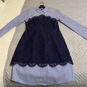 BCBGMaxazria Kaylin Lace Blocked Stripe Shirt Dres